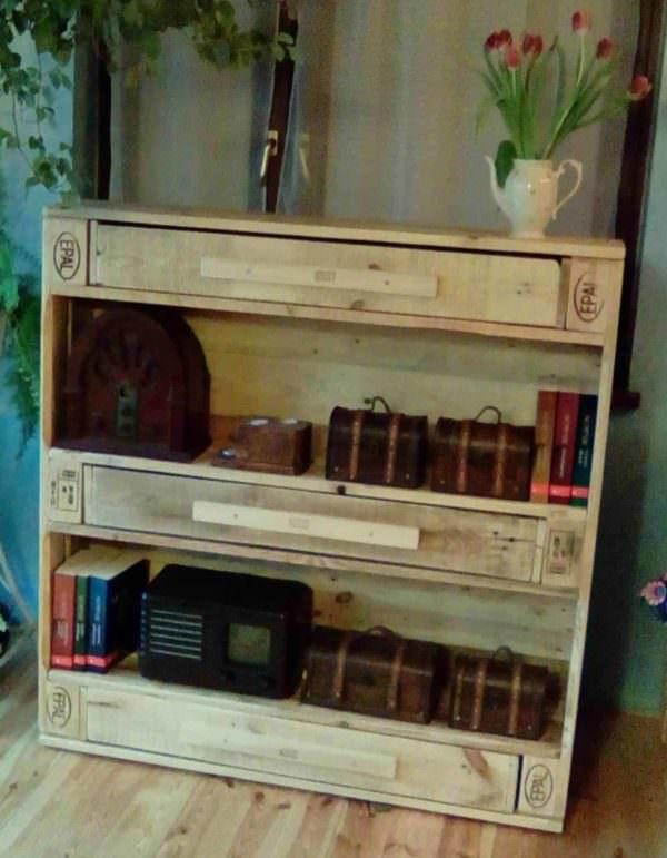 Unique 3-drawer Epal Pallet Bookshelf Pallet Bookcases & Bookshelves