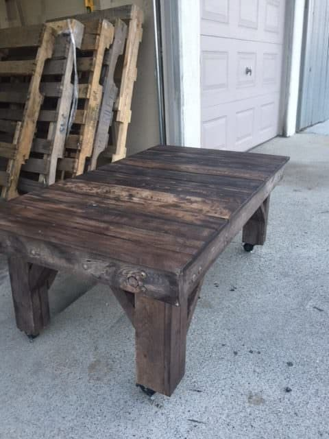 Chunky Rustic Pallet Table On Wheels Pallet Coffee Tables
