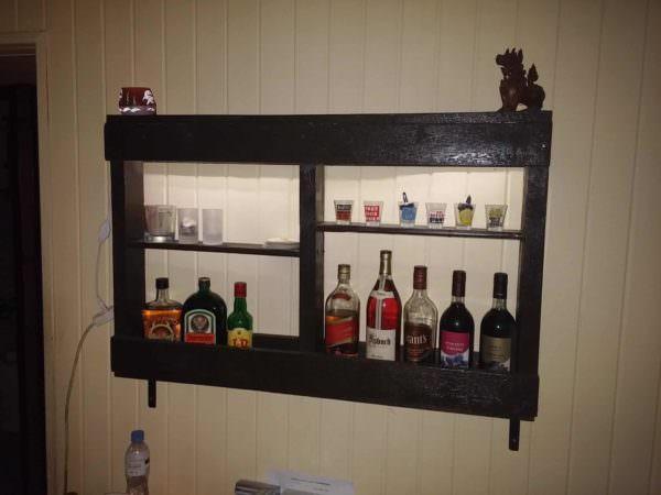 Easy, Underlit Pallet Wine Storage Shelf Pallet Home Accessories
