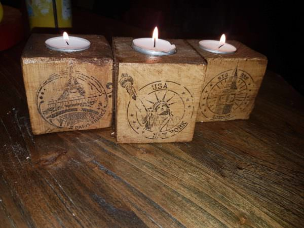 Pallet Block Candle Holders/Bougeoir Personnalisé Pallet Candle Holders
