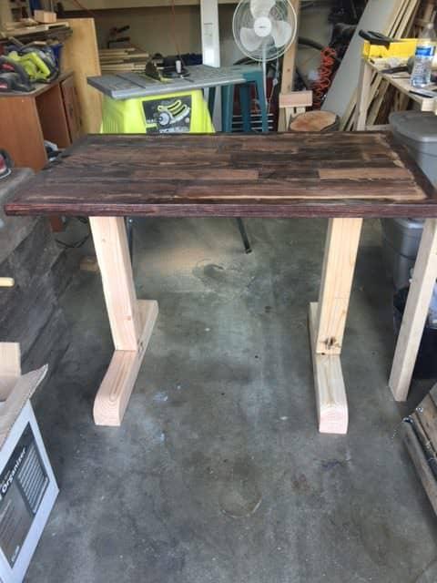 Prototype Adjustable Pallet Sit/Stand Desk Pallet Desks & Pallet Tables