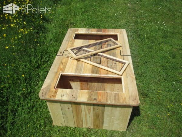 Black-inlay Pallet Coffee Table/Table Basse Et Ses Coffres De Rangement Pallet Coffee Tables