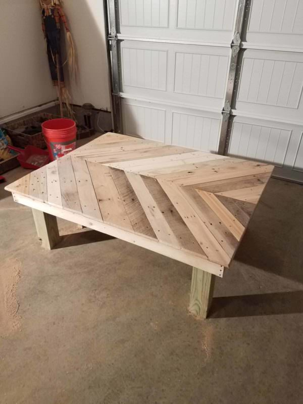 Gorgeous Wide Chevron 5 Pallet Coffee Table Pallet Coffee Tables