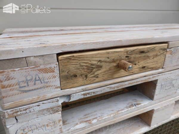 Whitewashed Mobile Pallet Tv Stand Has Drawers Too! Pallet TV Stands & Racks