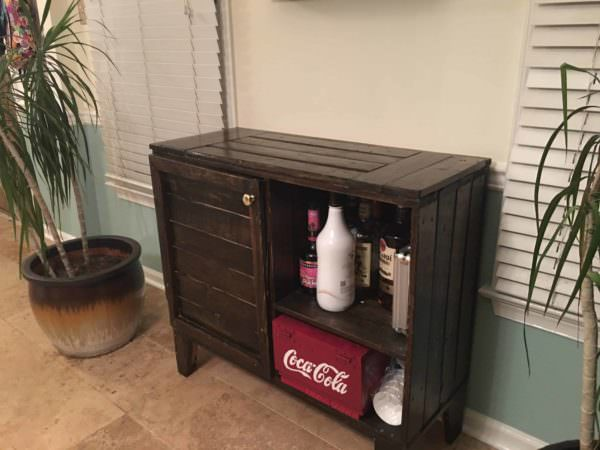 Compact Pallet Side Bar Holds Many Adult Beverages Pallet Bars