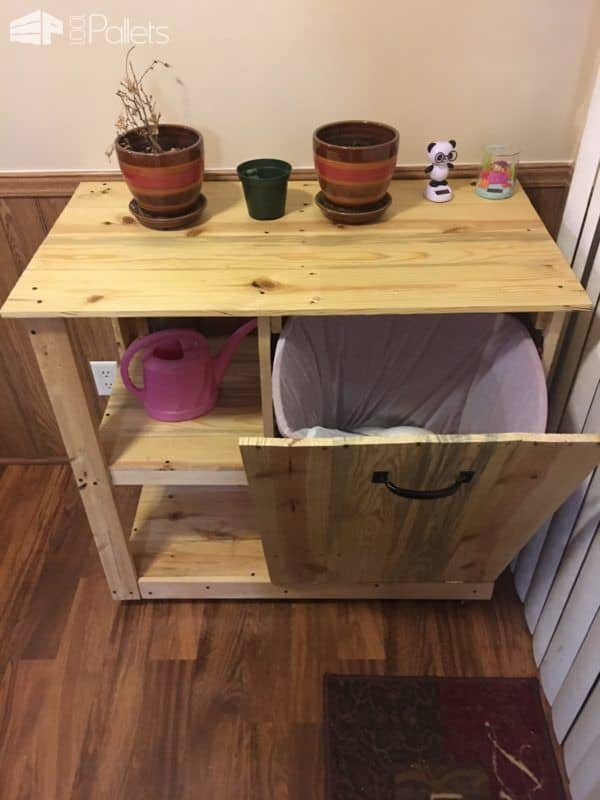 Pallet Trash Can Hideaway Shelving Unit Pallet Cabinets & Wardrobes Pallet Home Accessories