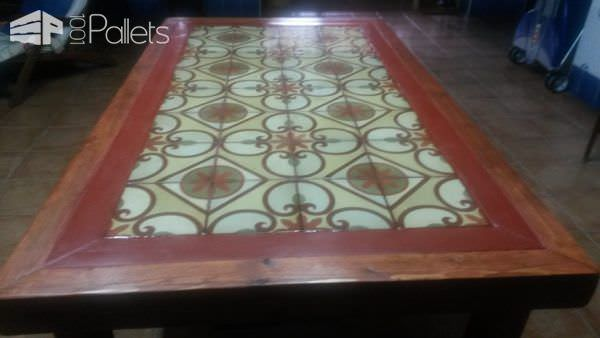 Pallet Wood Outdoor Table Featuring Upcycled Tiles Pallet Coffee Tables
