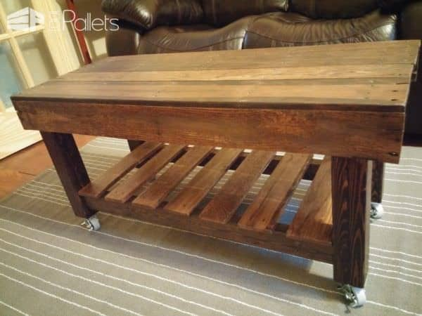 This Pallet Coffee Table Has Casters Pallet Coffee Tables