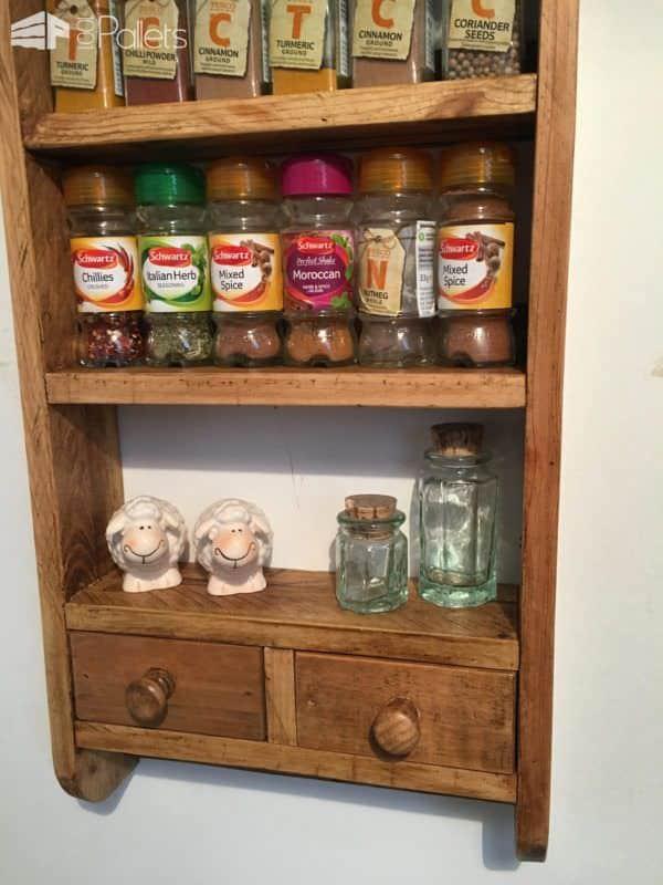 2-drawer Pallet Spice Rack Pallet Shelves & Pallet Coat Hangers