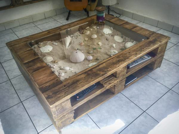 Beachy-keen Pallet Coffee Display Table Pallet Coffee Tables