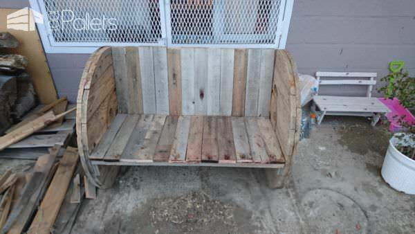 Cable Spool Plus Pallet Wood Backyard Bench Pallet Benches, Pallet Chairs & Stools
