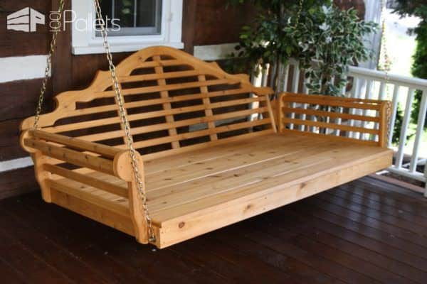 Easy Diy Tutorial: Build & Install One Pallet Swing Bench Pallet Benches, Pallet Chairs & Stools Pallet Tutorials