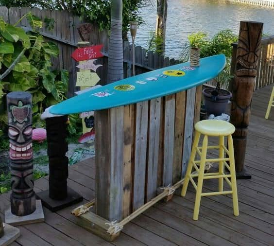 Only Two Pallets Made This Totally Tubular Surf Themed Backyard Bar Pallet Bars
