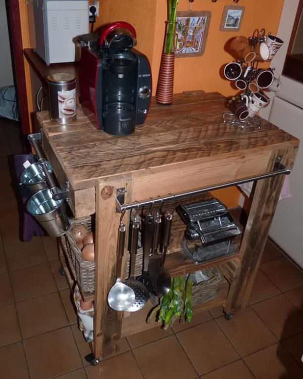 Rolling Pallet Kitchen Prep Rack Pallet Desks & Pallet Tables