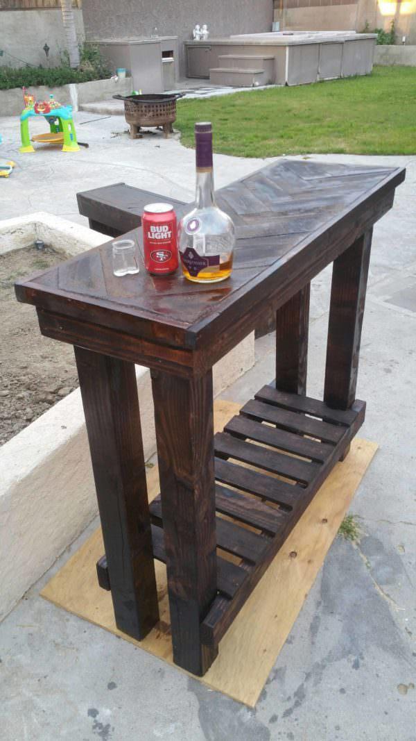 Herringbone Pallet Entry Table Pallet Bars Pallet Desks & Pallet Tables