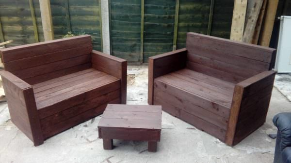 Sleek Pallet Loveseat Set Lounges & Garden Sets Pallet Benches, Pallet Chairs & Stools