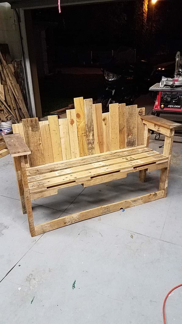 Store Front Decorative-backed Pallet Bench Seat Pallet Benches, Pallet Chairs & Stools