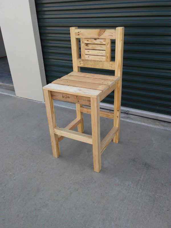 Rustic Designed Pocket Hole Pallet Bar Stool Pallet Benches, Pallet Chairs & Stools