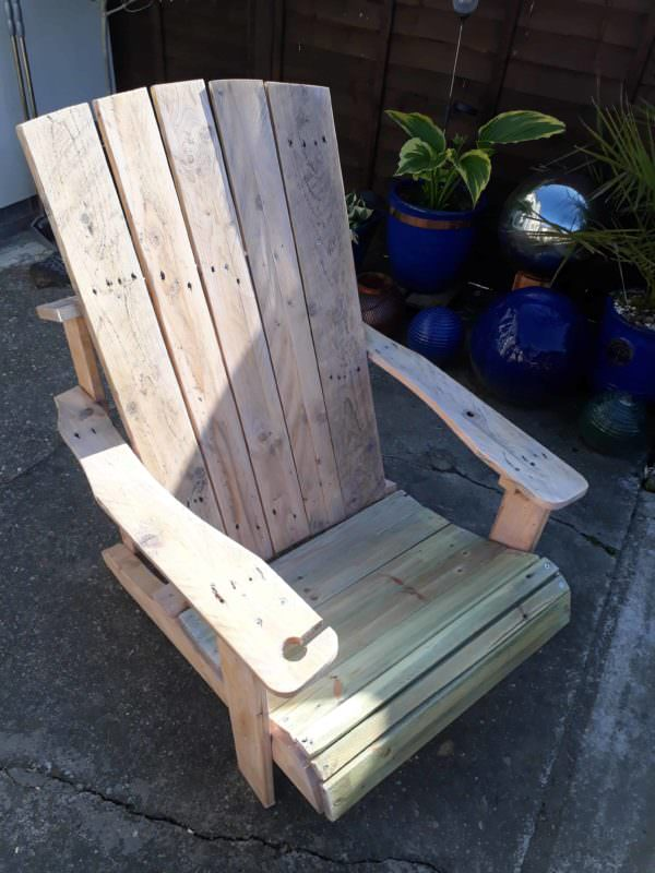 Standard Pallet Adirondack Chair Made Using Jigsaw! Pallet Benches, Pallet Chairs & Stools