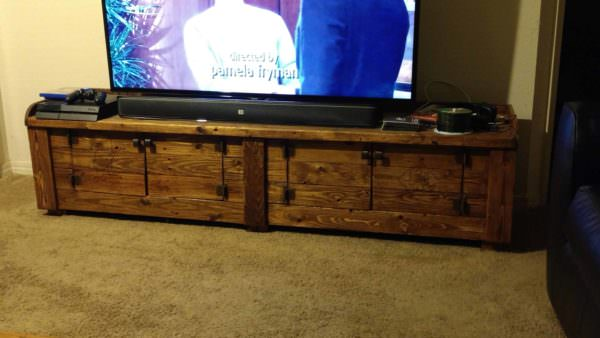 Woodburned Pallet Tv Stand For Large Screens Pallet TV Stands & Racks