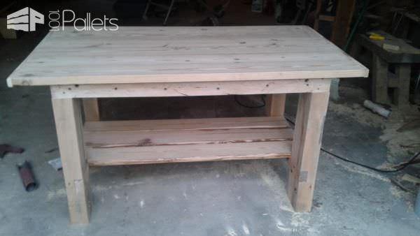 Heavy-duty Pallet Workbench Features Removable Top Pallet Desks & Pallet Tables