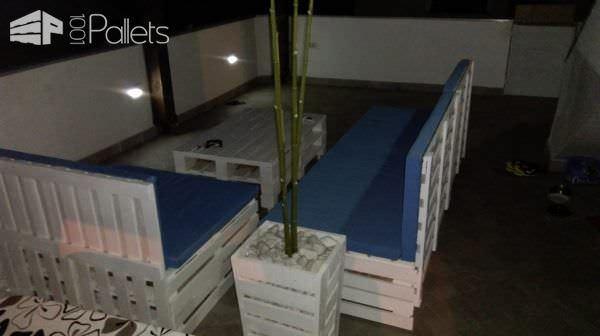 Led-illuminated Pallet Garden Lounge Set Lounges & Garden Sets Pallet Furniture