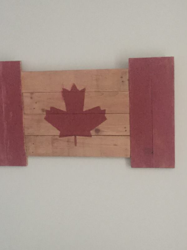 Rustic Pallet Flag Celebrates Canada Day Pallet Wall Decor & Pallet Painting