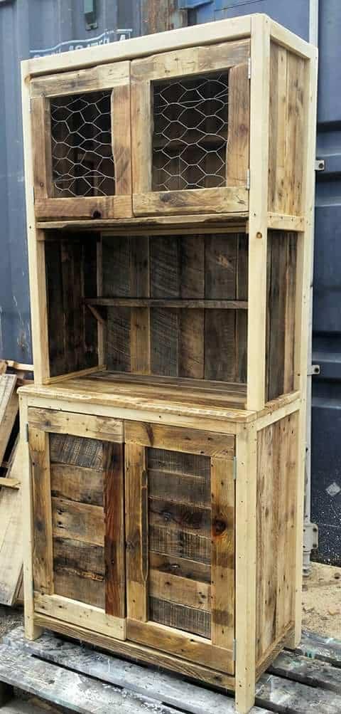 Wire-door Rustic Pallet Hutch Pallet Cabinets & Wardrobes
