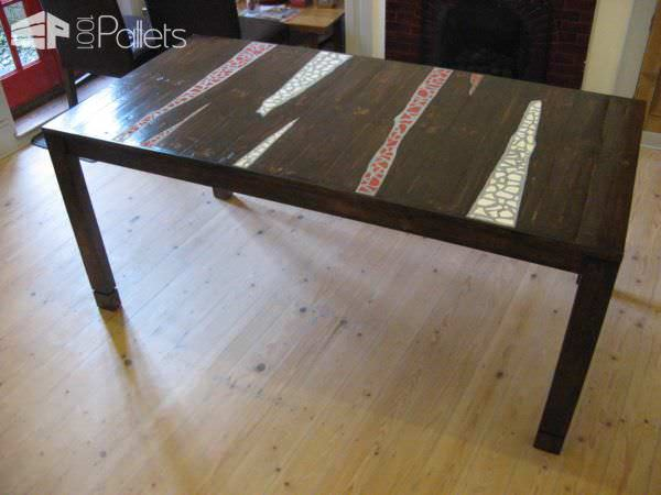 Crockery Mosaic Pallet Dining Table Pallet Desks & Pallet Tables