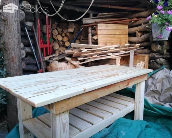 Substantial Pallet Work Table Has Storage Shelf Pallet Desks & Pallet Tables