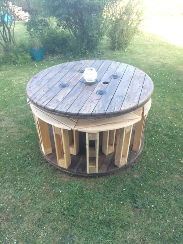 Wicked-cool Spool Stowaway Pallet Stool Project / Touret électrique Et Tabourets En Palettes Other Pallet Projects Pallet Desks & Pallet Tables