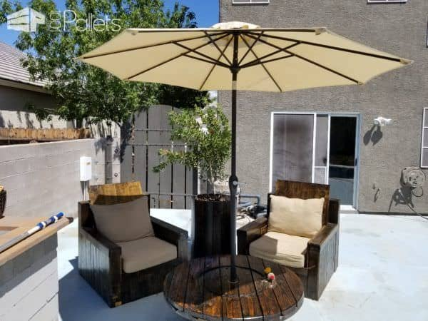 Wire Spool Pallet Patio Lounge Set Lounges & Garden Sets Pallet Benches, Pallet Chairs & Stools