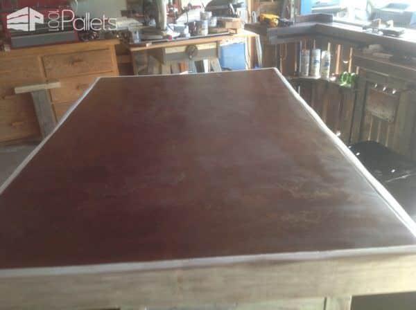 Metal-topped Rolling Pallet Kitchen Island Pallet Desks & Pallet Tables Pallet Projects