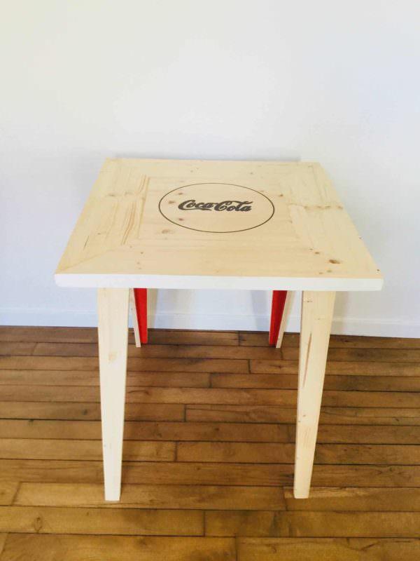 Beautiful Pallet Bistro Table With Soda Pop Logo Pallet Desks & Pallet Tables