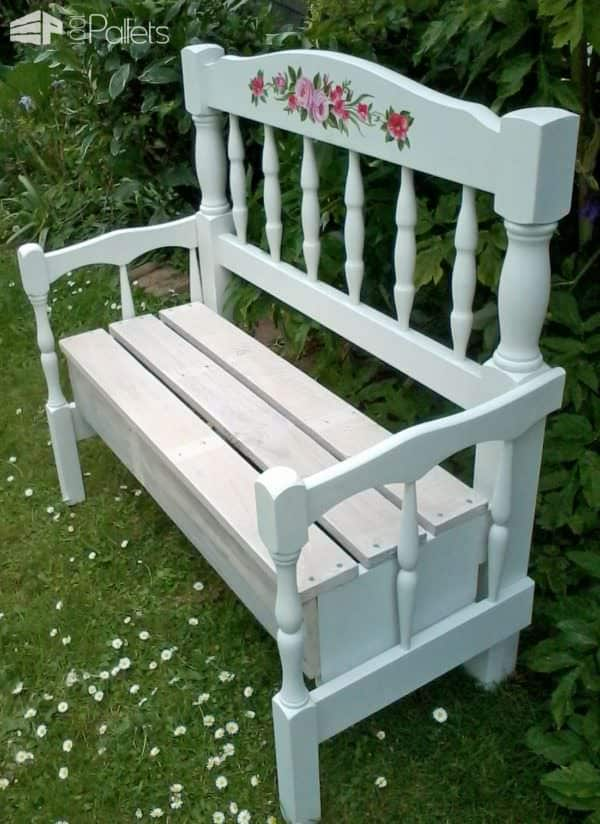 Pallet Wood Garden Bench Made With Two Headboards! Pallet Benches, Pallet Chairs & Stools
