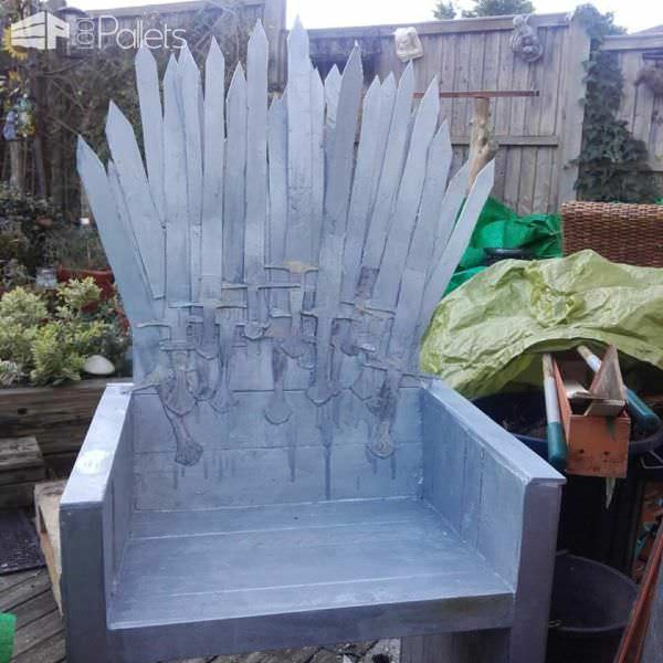 Poor Mans Pallet Iron Throne Chair For Your Man Cave Pallet Benches, Pallet Chairs & Stools