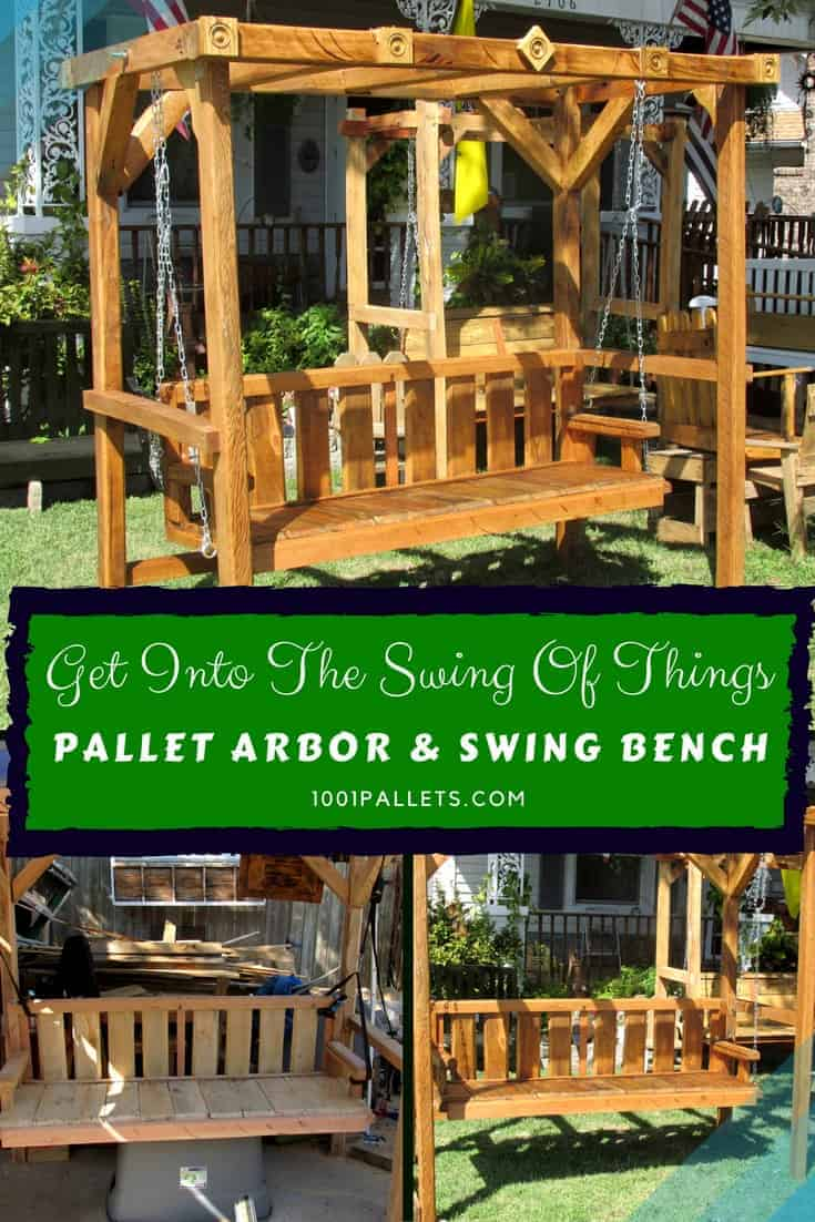 Awesome Pallet Arbor With 5-foot Swing! Lounges & Garden Sets Pallet Benches, Pallet Chairs & Stools
