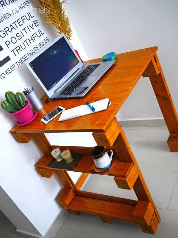 Easy Pallet Desk Also Makes Great Kids Art Desk Pallet Desks & Pallet Tables