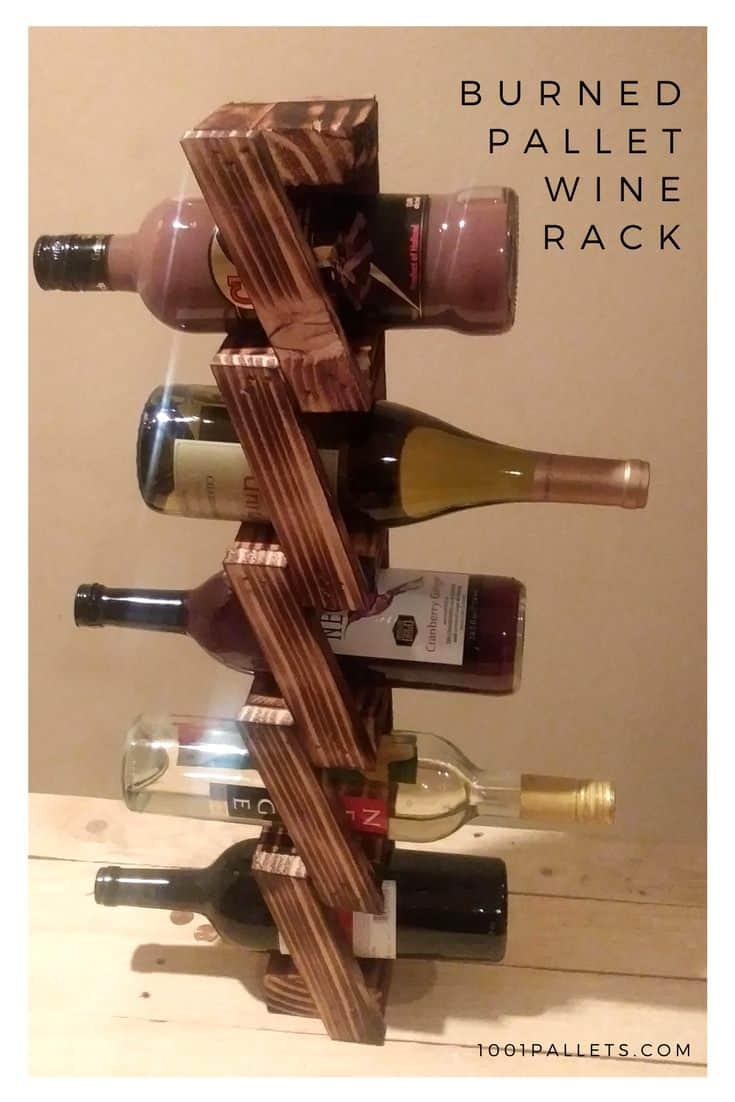 Modern Twist Wall-mount Wine Rack Made Using Pallets Pallet Home Accessories Pallet Shelves & Pallet Coat Hangers