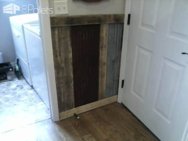 Pallets Plus Tin Makes Stunning Wainscoting! Pallet Walls & Pallet Doors