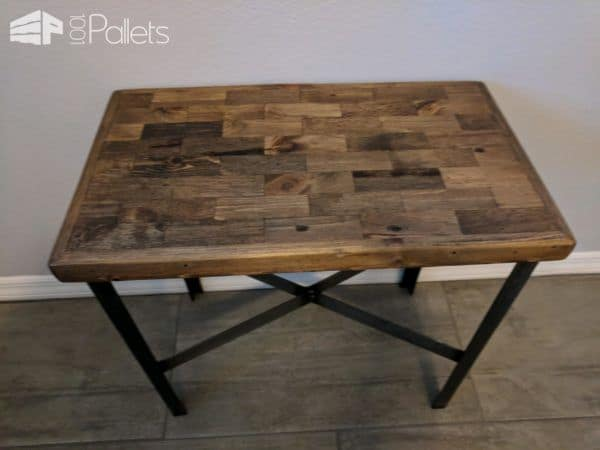 Metal Leg Pallet Strips End Table Pallet Desks & Pallet Tables