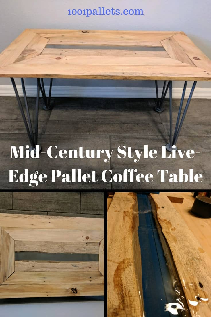 Mid-century Live-edge Pallet Coffee Table Pallet Coffee Tables