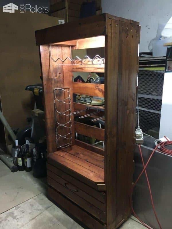 Original Led Lighted Pallet Wine & Glasses Rack Pallet Bars