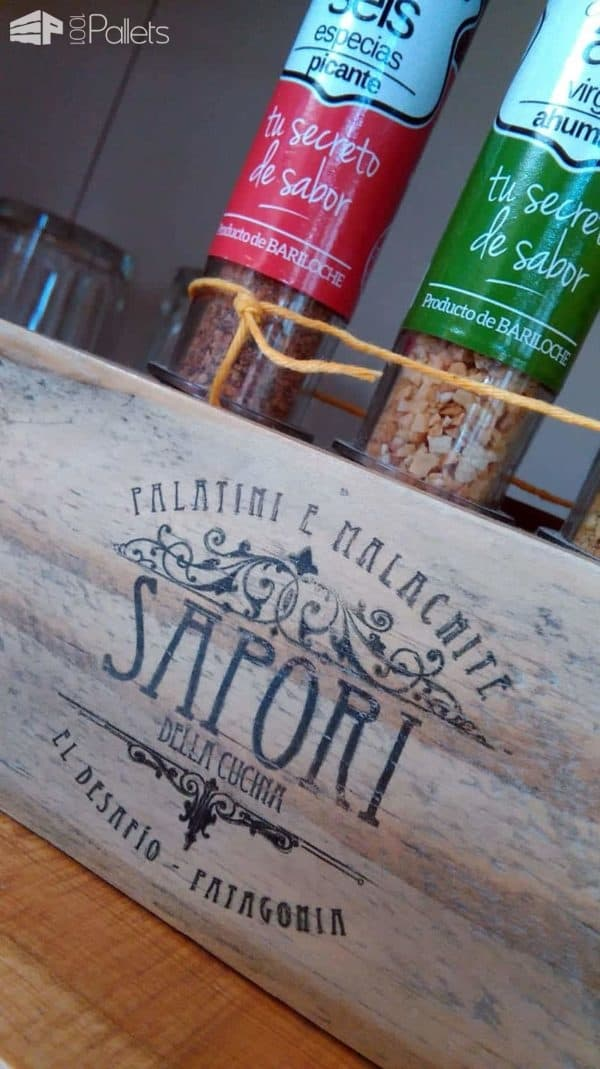 Pallet Block Becomes Decorative Spice Bottle Holder Pallet Home Accessories