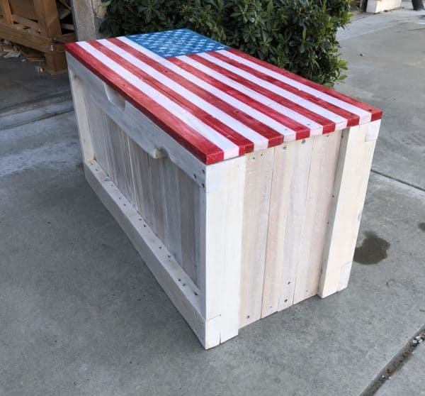 Patriotic Pallet Bench Features Hidden Storage Pallet Benches, Pallet Chairs & Stools