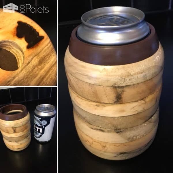 Wood-turned Pallet Wood Koozie With Diy Video Tutorial! DIY Pallet Video Tutorials Other Pallet Projects
