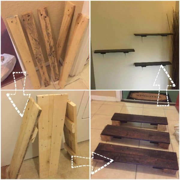 Super-fast, Simple Rustic Pallet Shelving with One Pallet Pallet Shelves & Pallet Coat Hangers