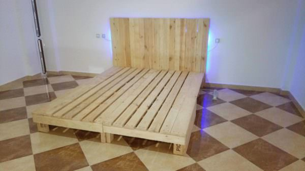 King Size Bed from 2 Long Pallets Pallet Beds, Pallet Headboards & Frames