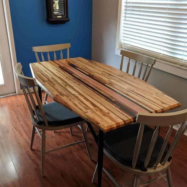 Butcher Block Table with Mid Century Legs Pallet Desks & Pallet Tables