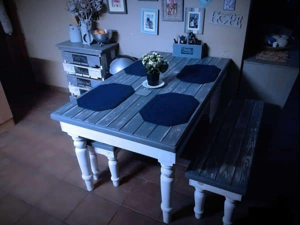Farmhouse Pallet Table & Benches Pallet Benches, Pallet Chairs & Stools Pallet Desks & Pallet Tables